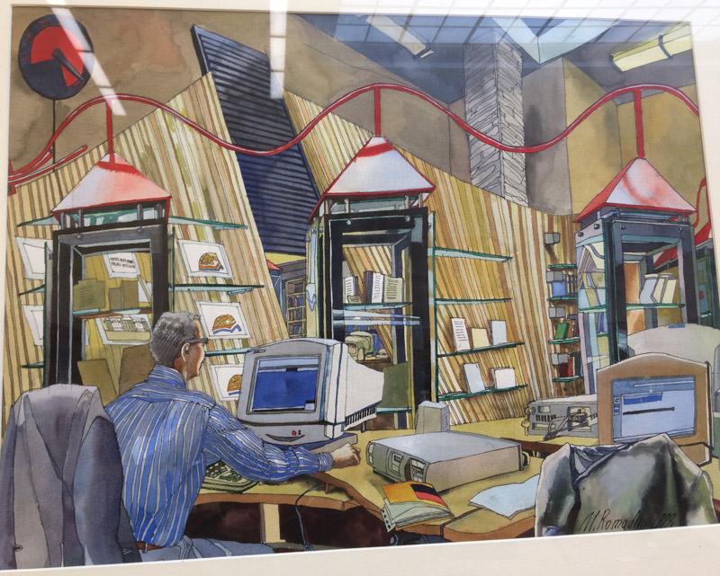 Mikhail Romadin, Cyberespace, 1999, Biblioteca de la ONU en Ginebra.