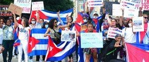 Protestas en Ginebra sobre la situación en Cuba. Foto: Orbisswiss Photos & Press